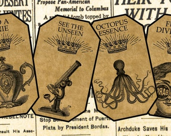 Nine Steampunk Labels Digital Download