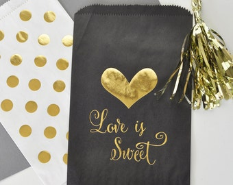 Black and Gold Wedding Favor Goodie Bags, Gold Polka Dots Candy Bar Favor Bags, Candy Buffet Bags - 12 pieces