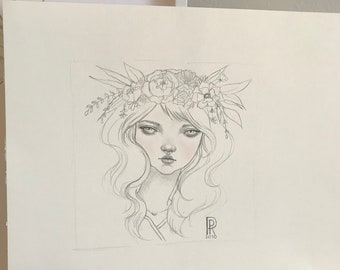 "Girl #3 of ""Girls with Flowers in their Hair Series"", Original Illustrations by Rosanna Pereyra"