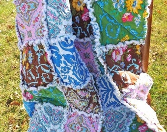 On Sale Floral Lap Rag Quilt - Lap Rag Quilt - blue, brown, yellow, green, pink - Gift for Her