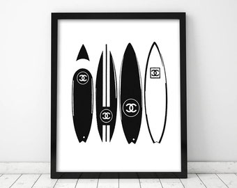 Chanel Surfboards Poster PRINTABLE FILE - black and white Chanel surfboards poster, Fashion art, Dorm room,Chanel art, Gift for her