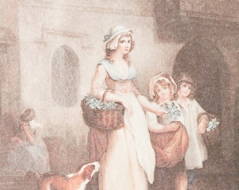 Antique French colored etching of a girl selling primroses, after the painting of Wheatley ' Cries of London' and engraving by Schiavonetti