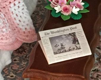 Miniature Washington Post News Stand Edition, Vintage Newspapers, Dollhouse Miniatures, 1:12 Scale, Dollhouse Decor Accessory, Mini Paper