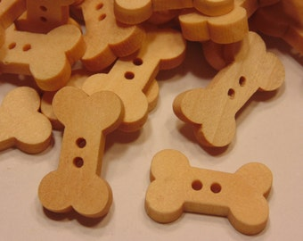 10 wood dog bone buttons, 11 x 19 mm (11)