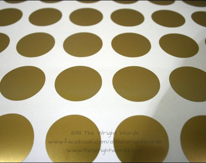 "36 1.5"" Metallic Gold Polka Dot Wall Decals - Home - Home Decor - Room Decor - Nursery Decor - Sparkle - Golden - House - Living Room"