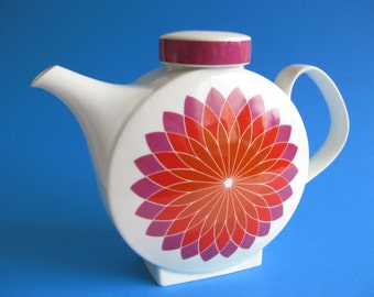 Vintage Tea Pot, Melitta Germany, Budapest Porcelain, Axel Wolfgang Werner , Mod Flowers
