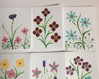 Hand painted flower cards