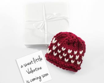 Valentine Baby Announcement, February Pregnancy Reveal, Baby Hat, Grandparent Announcement