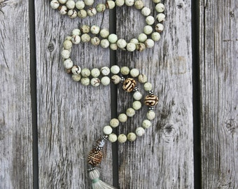 Long Tassel Necklace with Lemon Chrysoprase and Carved Bone Beads