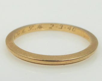 1940 14k Solid Gold Stacking Band Wedding Ring