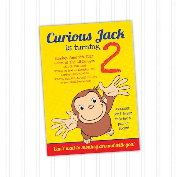 Curious george birthday invitation printable download print at like this item bookmarktalkfo Images