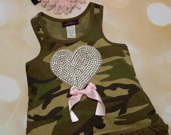 Camo Sleeveless Girls  Summer Dress Ruffle Camo Girls Dress with Large Rhinetone Heart and matching Headband