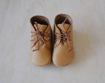 desert boots / baby moccasin moccs / soft soled baby shoes / BUTTERSCOTCH