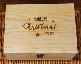 Personalised Christmas Eve Box - Engraved Wooden box - Custom Engraved Christmas Box