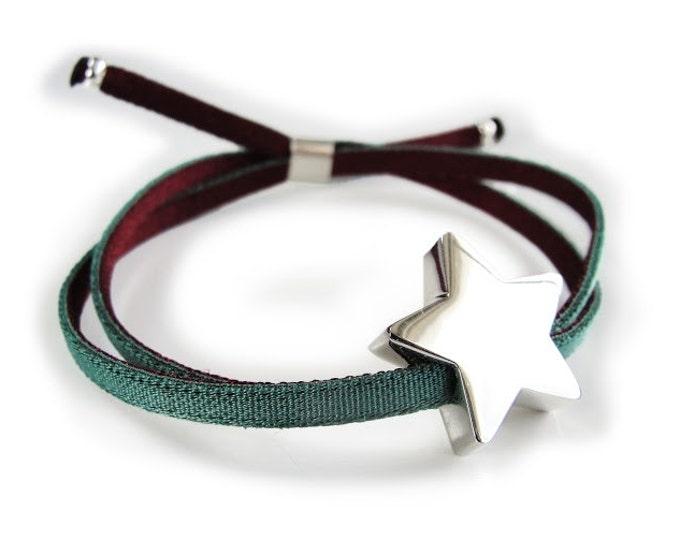Estrella de Plata/Pulsera Personalizada/Cordón Elástico.