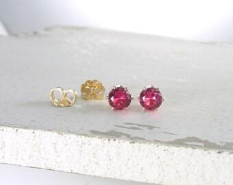 Ruby Stud Earrings July Birthstone Earrings Gold Stud Earrings Pink Ruby Earrings Tiny Stud Earrings Birthstone Jewelry Holiday Gift For Her