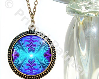 """Purple Teal Chakra Jewelry, Reiki Energy Necklace, Wearable Art """"Intuitive Truth"""""""