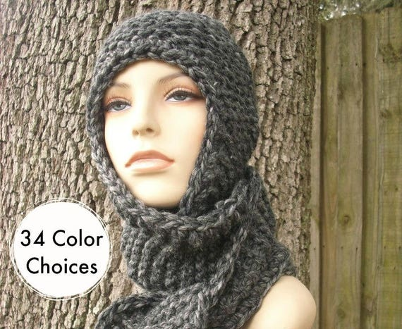 Knit Hat Womens Hat Knit Scarf Hat Ear Flap Hat - Garter Nomad Scarf Hat in Granite Grey Knit Hat - Grey Scarf Grey Hat - 34 Color Choices