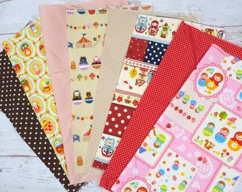 Value set fabric scrap  total of 8  pieces Matryoshka Russian nesting dolls print  and matching dots print sc05