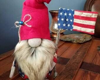Handcrafted Gnome Tomte Nisse Nordic Norwegian Heggie Patriotic Americana Liberty