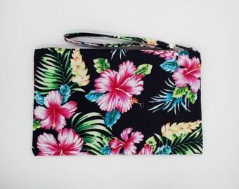 Tropical Hibiscus print clutch, purse