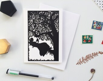 Girl Reading in a Pear Tree, Black White Silhouette Literary Greeting Card Design, for Book lovers, blank inside for your message