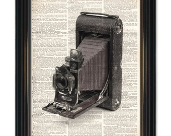 Vintage Camera dictionary art print.Upcycled vintage dictionary page print of old folding camera black & white photography - 8x10 inch.