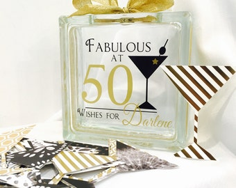 50th Birthday Wish Block - Wish Jar - Martini Themed - Fabulous at 50  -A different twist to a Guest Book- Gold and Black
