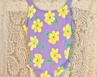 Vintage Pretty Pastel Purple One Piece Swim Suit / Yellow Floral Print Bathing Suit / Retro Lilac Lavender Swimwear / Daisy Flower Print