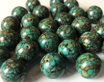16mm Smooth Mosaic Turquoise Beads