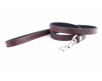 Personalized Leather Brown Dog Lead | Soft Leather Dog Lead | Brown & Black Dog Leash | Hand Painted Dog Lead |