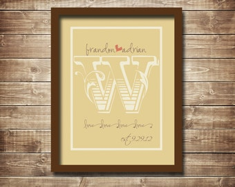 Monogrammed Wedding/Anniversary Digital Print, Typography, 11x14