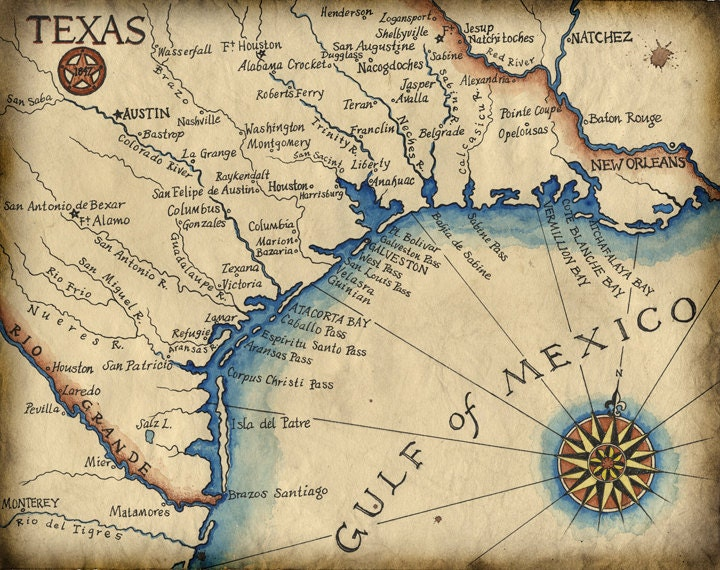 Texas Coast Map Art c1847 11 x 14 Texas