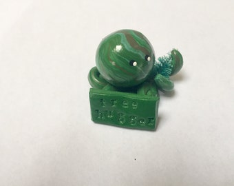 Tree Hugger  Octopus Mini Marble Friend in greens and browns with miniature tree