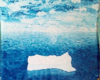 Original oil painting Abstract on Canvas Art Impresssinism Iceberg