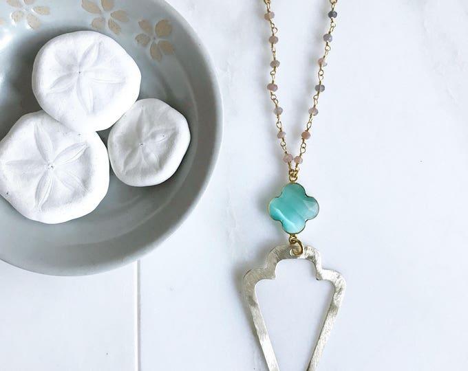 Long Open Arrowhead Pendant Necklace. Long Boho Necklace. Long Gold Gemstone Necklace. Long Aqua Chalcedony Necklace. Unique Jewelry. Gift.