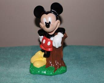 "Vintage Mickey Mouse Disney Bank w/Stump 8"" Plastic w/Plug Just Toys, Inc"