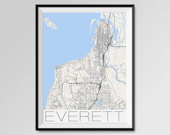 EVERETT Washington Map, Everett City Map Print, Everett Map Poster, Everett Wall Map Art, Everett gift, Custom city maps, Washington map