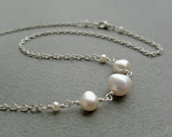 AA-grade Freshwater Pearl Necklace, Sterling Silver Minimalist, Dainty Necklace, Ivory White Pearl, June Birthstone, Wedding Jewelry, Gift