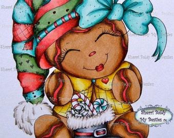INSTANT DOWNLOAD Digital Digi Stamps Big Eye Big Head Dolls NEW My Besties img816 gingerbread Christmas Bestie  By Sherri Baldy