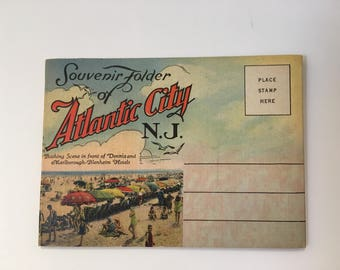 Vintage Curt Teich & Co, Souvenir Folder Atlantic City Postcards, Jersey Supply Co., Vintage Foldout Cards
