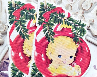 Christmas Baby Gift Tags (6) Christmas Favor Tag-Holiday Tags-Christmas Tags-Treat Tags-Gift Tags-Christmas Die Cut-Christmas Gift Wrap