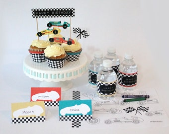 Vintage Race Car- Cupcake, Cake Toppers | Checkered Flags, Trophy | Racing Car Decorations | Birthday | Baby Shower | Car Theme