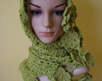 ON SALE - 10% OFF Green Crochet Scarf...Handmade Neck warmer...Fashion Photo Prop...