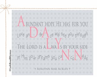 Personalized Gift Christening Girl Christian Nursery Prints Baby Religious Gifts For Christian Baptism From Godmother Poem 8x10 Adalynn