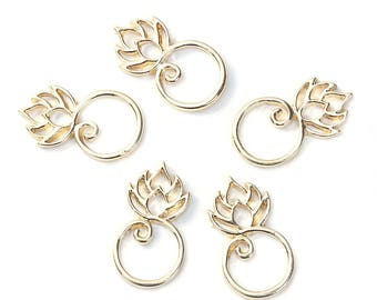 """5 connectors """"Round/lotus flower"""" gold 26 mm x 15mm"""