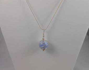 Necklace genuine blue chalcedony pendant with 20mm on 925 sterling silver chain