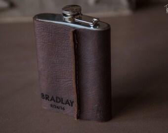 Kodiak Leather Flask | Engraved Flasks | Customized Flasks | Handmade in the USA
