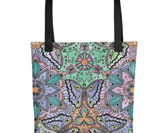 "Flower and Butterfly Tote bag 15"" X 15"""