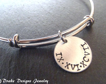 personalized roman numeral bracelet bangle wedding date bracelet